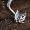 Luo Linglong s925 sterling silver butterfly wish pendant necklace anti-allergy simple temperament personality fresh hand original equte s925 sterling silver long six sides cylindrical chain necklace silver 16