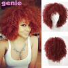 GENIE Red Curly Синтетические парики для черных женщин Natural Full American African Medium Afro Wig Cosplay Heat Resistant mcoser lol cosplay jinx wig 130cm long blue braids wig heat resistant top quality free shipping