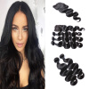 8A Brazilian Body Wave 3PCS Hair Weaves With Top Lace Closure Natural Color Hair Bundles Brazilian Peruvian Remy Human Hair Exten natural color 8a brazilian body wave 3pcs lot with closure