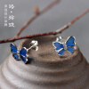 Luo Linglong s925 sterling silver blue butterfly earrings earrings anti-allergy simple temperament personality fresh retro handmad цены онлайн