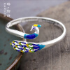 Фото s999 pure silver bracelet female cloisonne blue peacock retro temperament national wind birthday gift to send mother girlfriend