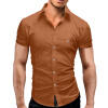 Men Shirt Luxury Brand 2017 Male Short Sleeve Hawaiian Shirts Casual Metal Buckle Hit Color Slim Fit Black Mens Dress Shirts