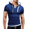 Men'S T Shirt 2017 Summer Fashion Hooded Sling Short-Sleeved Tees Male T-Shirt Slim Male Tops 5XL стул coleman summer sling 205147