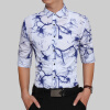 Brand 2017 Fashion Male Shirt Long-Sleeves Tops Cotton Men Fashion Ink Painting Slim Mens Dress Shirts Slim Men Shirt 2XL men ink painting print tshirt