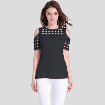 Tissbely Women Hollow Out T Shirt Square Hollow Shoulder Summer Littel Sexy off shoulder Tee Tops