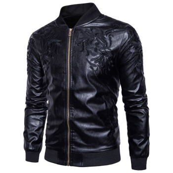 Brand Man Zipper Leather Jackets Pu Leather Collar Embroidered Leather Jacket Men Black Motorcycle Leather Jacket