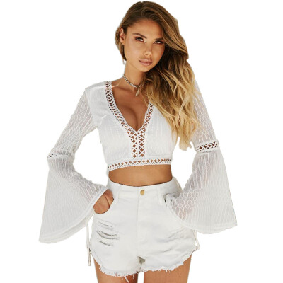 PREISEI Summer Women Sexy Lace White Hollow Out Striped V-Neck Flare Long Sleeve Short Blouse Shirt Ladies Tops Blusas PR180767