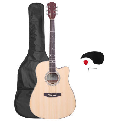 "Glarry GT601 41"" 6-String 20-Fret Dreadnought Spruce Front Cutaway Sapele Back Folk Guitar with Bag & Board & Wrench Tool"