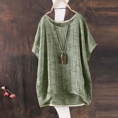 2018 Women Summer Bat sleeve Casual Loose Top Cotton Shirt Pendant Ornaments