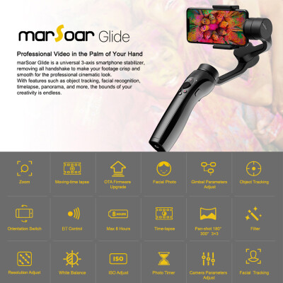 Emax MarSoar Glide 3-Axis Handheld Gimbal Stabilizer for RC FPV iPhone X 8 Plus 7 6 SE Samsung Galaxy S9 8 7 Festival Gift