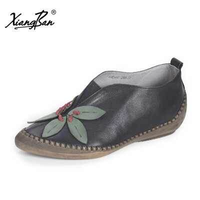 Xiangban 2018 New Arivals Spring Genuine Leather Women Shoes Low Heel Womens Flats