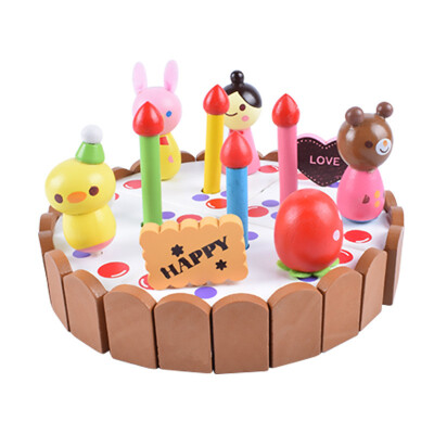 New Wooden Baby Toys Mother Garden strawberry simulation every family had a small wooden cartoon birthday cake