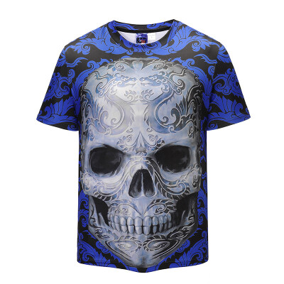 2018 Summer New Style Mens Fashion Slim Short Sleeve 3D Print T-Shirt Sports Fitness Casual Top