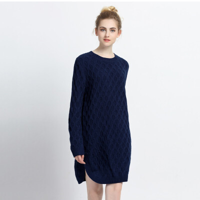 2018 New Arrival Autumn Winter O-neck Long-sleeved Long Sweater Loose Knitting Pullover Keep Warm Sweater Women