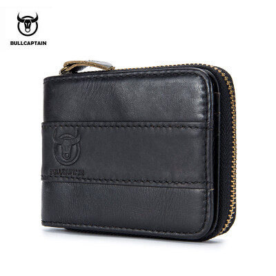 BULLCAPTAIN 2018 New Arrival Mens Wallet Cowhide Coin Purse Slim RFID Carteira Designer Brand Wallet clutch leather wallet 025