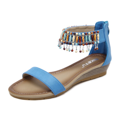 2018 new national beaded sandals for women with Roman national style&large size slope heels