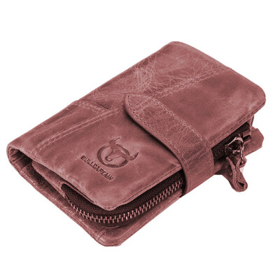 BULLCAPTAIN Trifold Hasp Zipper Short Wallets for MEN Cow Leather CASUAL Wallet Money Purse Bag Card Holder Coin Pocket