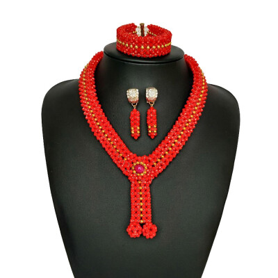AMYNOVA Luxury Red Wedding Jewelry Sets African Bridal Crystal Clothing Necklace And Earrings Set For Women Accessories
