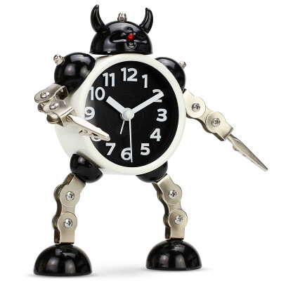 Code Shi alarm clock children cartoon personality lazy mechanical electronic cute living room creative metal student mute small alarm clock RB2774 horn black