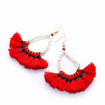 Outdoor Beaded Tassel Earrings Wool Earrings Bohemian Ethnic Earrings Millet Beads