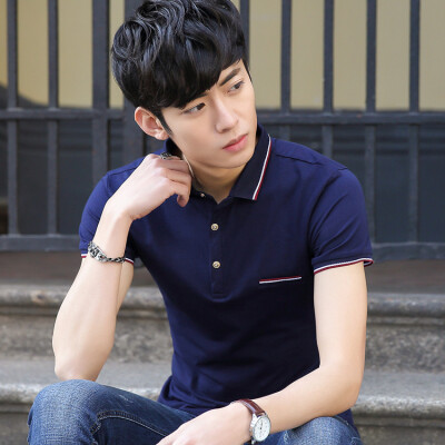 Summer mens T-shirt short sleeved shirt to lead mens Korean shirts self-cultivation solid colors trends mens lapel