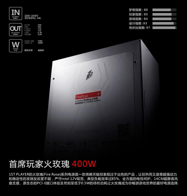 Principal players (1st player) Fire Rose 400W power supply (85% efficiency / Top Industrial Design)