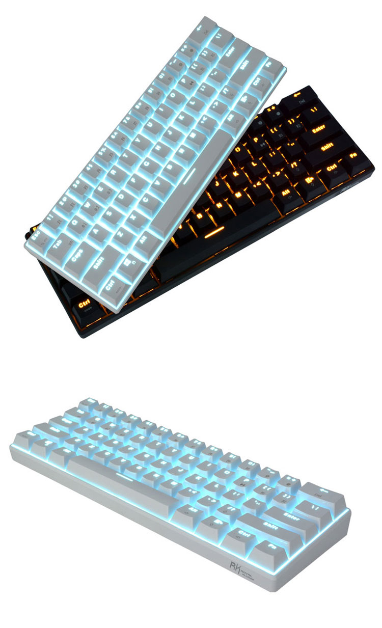 RK61 mechanical keyboard Bluetooth wired dual mode 61 keys green axis white ice Blue Light