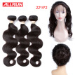 Allrun 360 Lace Frontal Closure With Bundles Brazilian Body Wave 22*4*2 size 360 Lace Brazilian Virgin Hair With Human Hair Bundle
