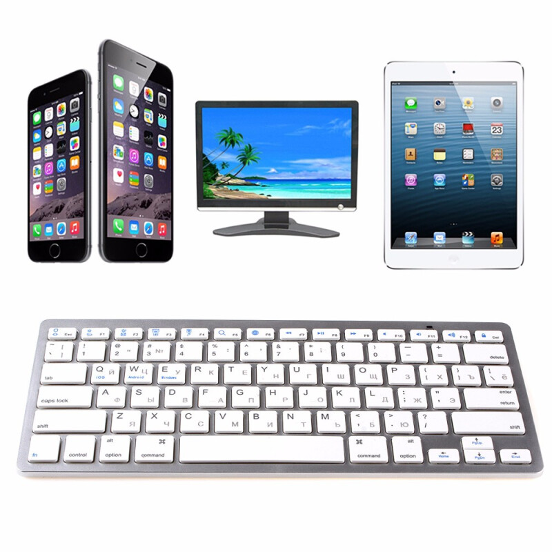 MyMei New Arrival Utra-thin & Lightweight Slim Mini Bluetooth Wireless Russian Keyboard For Win8 XP IOS Android
