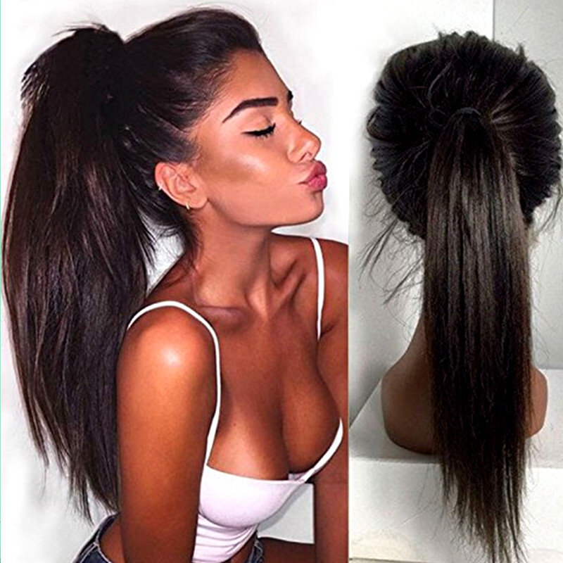 N.L.W. 10A Brazilian virgin human hair Lace front wigs Silk straight Glueless wigs with baby hair for black women