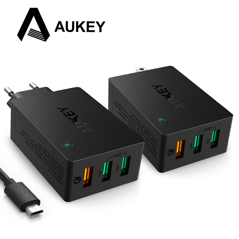 AUKEY USB Charger Quick Charge 3.0 3-Port Mobile Wall Phone Charger for LG G5 Xiaomi Meizu Samsung Nexus 6P Apple Smartphones