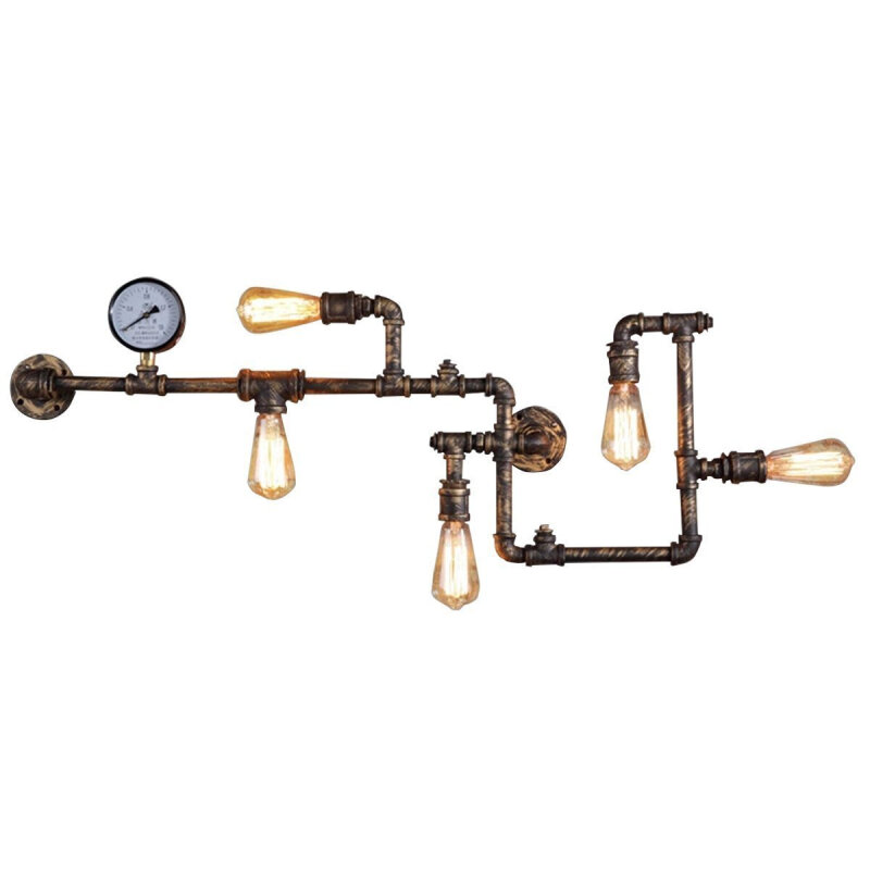 industrial water pipe decor wall lamp bronze rustic wall sco