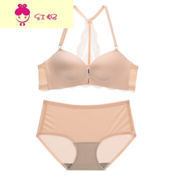 b7b65d936 Summer feminine lace gathered underwear set without steel ring comfortable  breathable beauty back bra cover Light Shrimp powder 75A
