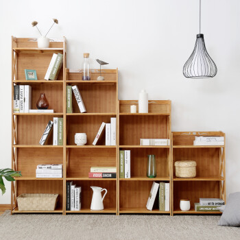 Bamboo And Wood Years ZMNH Bookcase Simple Modern Student Solid Bookshelf Multi Layer Shelf Combination Landing Small Cross