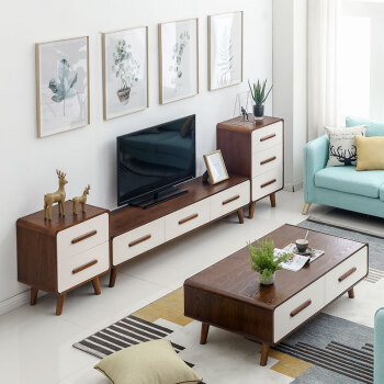 Love Square Nordic TV Cabinet Tea Table Combination Modern Simple Small  Living Room Solid Wood Cabinet Furniture Set 1.8 Meter TV Cabinet + 1.2  Meters Tea ...