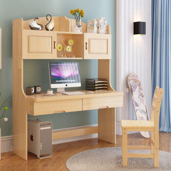 Dual Vibration Household Simple Solid Wood Desktop Computer Desk Bookcase Bookshelf Combination Modern Pine Writing Table Plus Chair Set Of Single