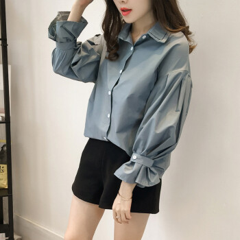 Blouses & Shirts Sweet Short Blouse Women Korean Chic Lotus Leaf Edge V-neck Shirt New Lantern Sleeve Spring Shirts Girls Holiday Crop Top White