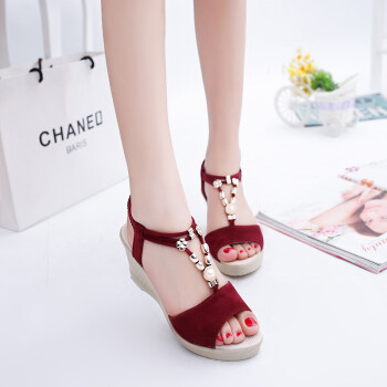 31b7ffa339d Sandals girl Summer new sweet fashion with Pump Wedge breathable Waterproof  table Elegant beaded sexy Peep Toe female cool Slippers bm-hc-s79 Wine Red  37