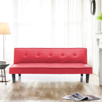 Wei Lian Small Type Solid Wood Sofa Bed Dual Use Single Folding Fabric Leather 1 8 65 Meters Red Ez Singapore
