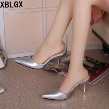 d17fd53a4ca XBLGX Spring Sweet Sequins Pointed Toe no heel Casual Pump Slippers shoes  shoes Korean silver 36