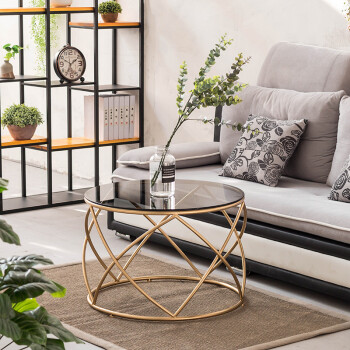 Iron Township Nordic Small Coffee Table Round Tea Table Tempered Glass Iron  Art Table Table Roundtable Small Tatami Table Simple Living Room Sofa Edge  ... Part 97