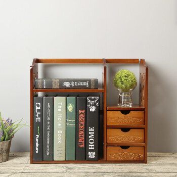 Germany Long Bamboo Desktop Antique Bookshelf Office Shelf Small Students Simple With Drawer Upgrade 50