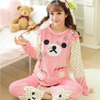 fd9c816192 Autumn and winter coral velvet pajamas Female winter cotton long-sleeved home  clothing thickened sweet cute set women winter big White (picture See  details ...