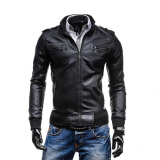Leather & Faux Leather-Zogaa New Men's PU Leather Clothing Casual Stand Collar on JD