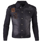 Jeans-Zogaa Men's Jeans Jacket Patchwork Leather Fashion Holes on JD
