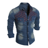 Jeans-Men Long Sleeves Holes Denim shirts on JD
