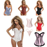 Corset-Women Sexy Satin Corset Brocade Floral Bustier Lingerie Bodyshaper Waist Training waist lifter on JD