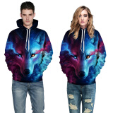 Hoodies-Cool Wolf Print Autumn Winter Fashion Casual Men Women Couple Hoodie Tops Long Sleeves Hooded Front Pocket Sweatshirts Pullovers on JD