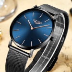 Men's Watches Мужские часы Relojes para Hombre-GUANQIN Brand Luxury Simple Design Ultra Thin Mesh Band Quartz Watch Men Business Waterproof Steel Wristwatch relogio masculino on JD
