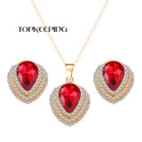 Topkeeping Women's Fashion Waterdrop Pendant 18k Gold Plated Earrings Necklace Jewelry Sets